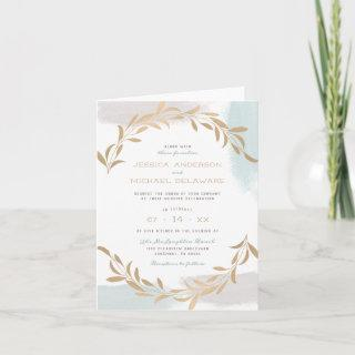 Teal Watercolor Brush Strokes Minimalist Wedding Invitations
