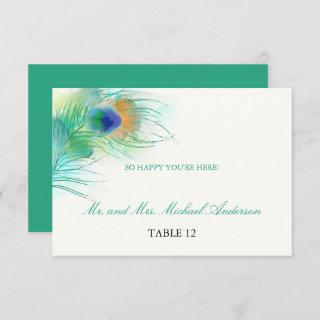 Teal Watercolor Peacock Feather   Seating Invitation