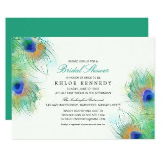 Teal Watercolor Peacock Feathers Bridal Shower Invitations
