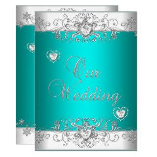 Teal Wedding Silver White Diamond Hearts Invitations