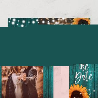 Teal Wood Sunflower Save The Date Photo Postcards