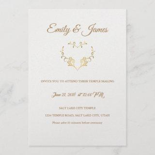 Temple Wedding Invitations-Fancy Gold Heart Invitations