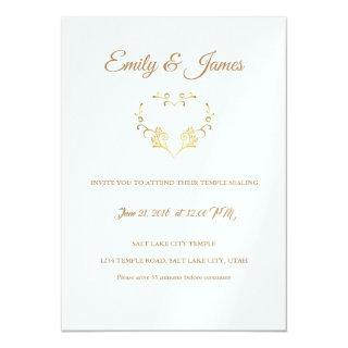Temple Wedding Invitation-Fancy Gold Heart Invitation