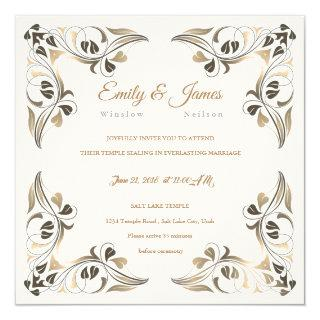 Temple Wedding Invitation Fancy Leaf Borders