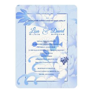 Temple Wedding & Reception Invite-Blue Peonies Invitation