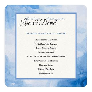 Temple Wedding Reception Invite-Blue Watercolor Invitation