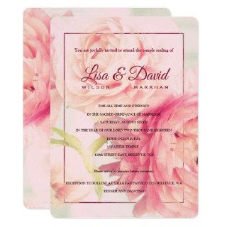 Temple Wedding & Reception Invite-Peonies Invitation