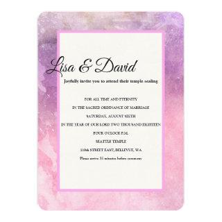 Temple Wedding & Reception Invite-Pink Watercolor Invitation