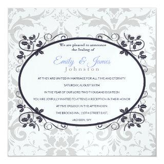 Temple Wedding Reception Invite Silver Coronation