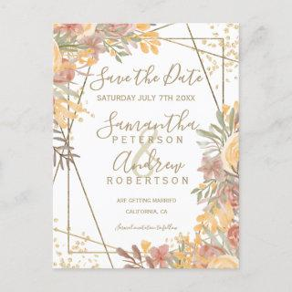 Terracotta brown floral gold frame save the date announcement postcard