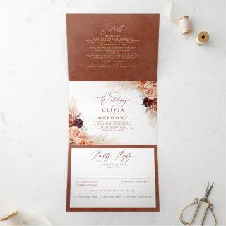 Terracotta Flowers and Pampas Grass Exotic Wedding Tri-Fold
