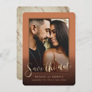 Terracotta Gold Script & Marble Photo Overlay Save The Date