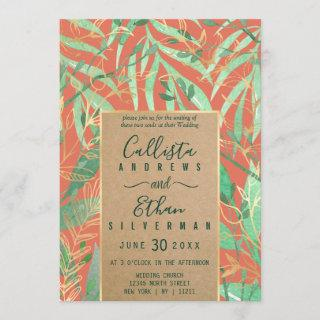 Terracotta Green Watercolor Leaves Kraft Wedding Invitations