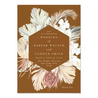 Terracotta Pampas Dried Grass Floral Jungle Invitations
