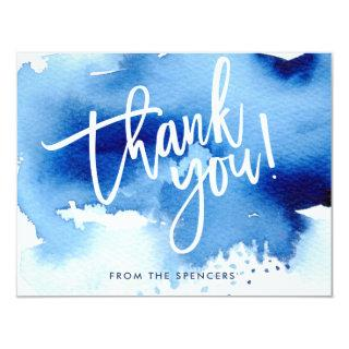 THANK YOU NOTE hand lettered dark blue watercolor Invitations