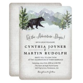 The Adventure Begins Rustic Wedding Invitations