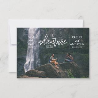 The Adventure Begins | Wedding Save the Date Photo