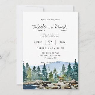 The Barn on Pemi | Watercolor Wedding Invitation