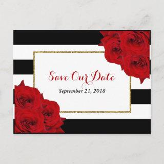 The Chic Modern Luxe Wedding Collection- Red Roses Announcement Postcard
