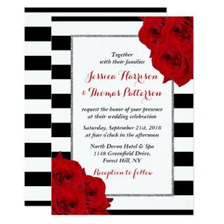 The Chic Modern Luxe Wedding Collection- Red Roses Invitation