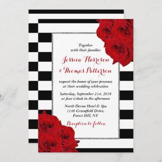The Chic Modern Luxe Wedding Collection- Red Roses Invitations