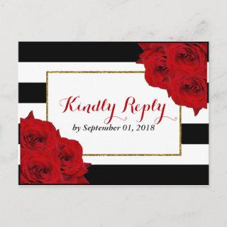 The Chic Modern Luxe Wedding Collection- Red Roses Invitations Postcard