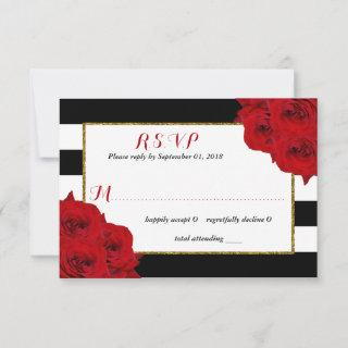 The Chic Modern Luxe Wedding Collection- Red Roses RSVP Card