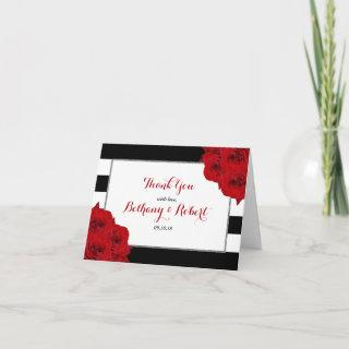 The Chic Modern Luxe Wedding Collection- Red Roses Thank You Card