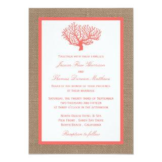 The Coral On Burlap Boho Beach Wedding Collection Invitations
