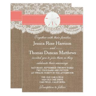 The Coral Sand Dollar Beach Wedding Collection Invitation