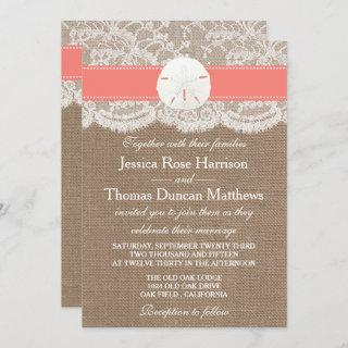 The Coral Sand Dollar Beach Wedding Collection Invitations