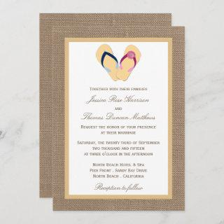 The Flip-Flop Sand Beach Burlap Wedding Collection Invitation