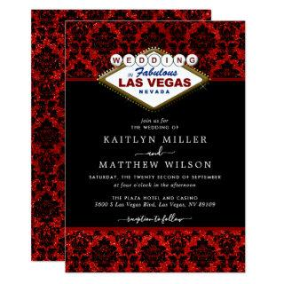 The Glitter Damask Las Vegas Wedding Collection Invitations