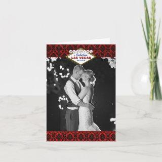 The Glitter Damask Las Vegas Wedding Collection Thank You Card