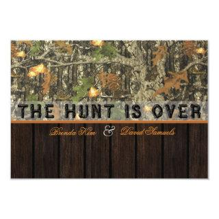 The Hunt Is Over Camo Wood Wedding Invitations