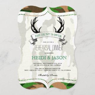 """""""The Hunt is Over"""" Rustic Camo Rehearsal Dinner Invitation"""