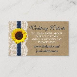 The Kraft, Lace & Sunflower Collection - Navy Enclosure Card
