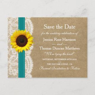 The Kraft, Lace & Sunflower Collection - Teal Announcement Postcard