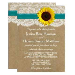 The Kraft, Lace & Sunflower Collection - Teal Invitation