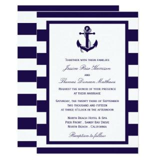 The Nautical Anchor Navy Stripe Wedding Collection Invitation