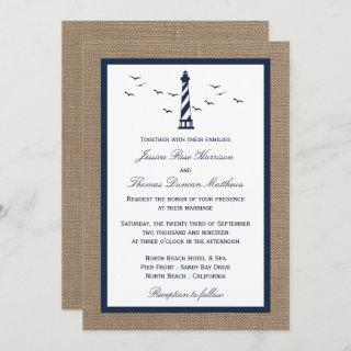 The Nautical Lighthouse Burlap Wedding Collection Invitations