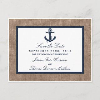 The Navy Anchor On Burlap Beach Wedding Collection Announcement Postcard