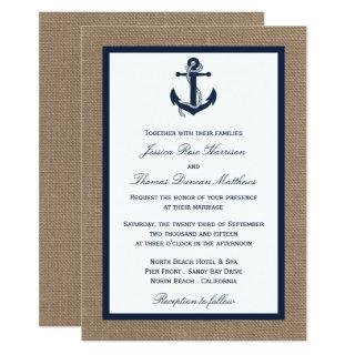 The Navy Anchor On Burlap Beach Wedding Collection Invitations