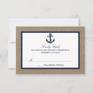 The Navy Anchor On Burlap Beach Wedding Collection RSVP Card