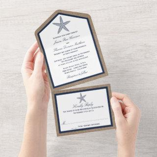 The Navy Starfish Burlap Beach Wedding Collection All In One Invitations