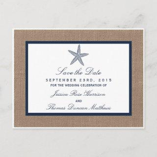 The Navy Starfish Burlap Beach Wedding Collection Announcement Postcard