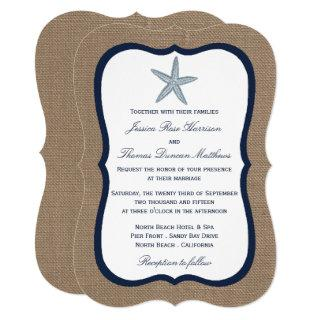 The Navy Starfish Burlap Beach Wedding Collection Invitations