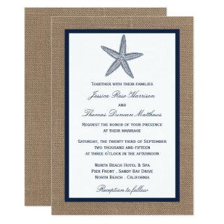 The Navy Starfish Burlap Beach Wedding Collection Invitation