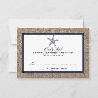 The Navy Starfish Burlap Beach Wedding Collection RSVP Card
