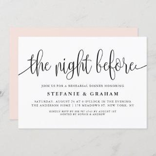 The Night Before Black Script Rehearsal Dinner Invitation